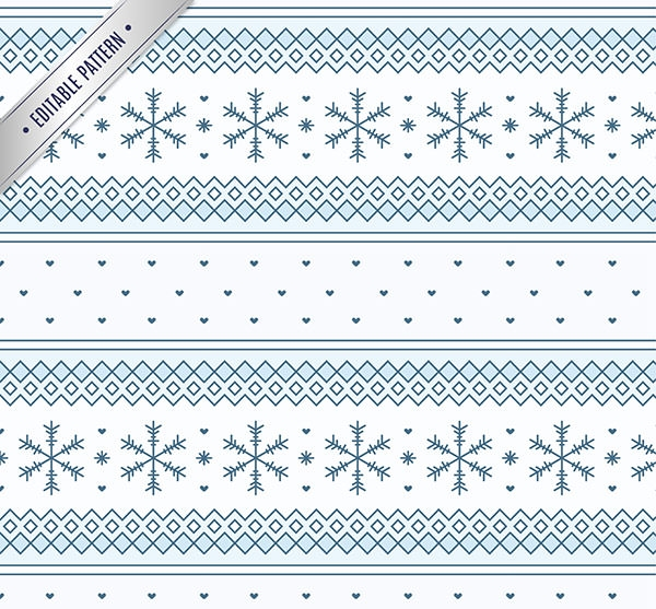 Geometric-winter-pattern-with-snowflakes