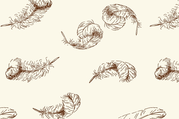 Hand-drawn-feather-seamless-pattern-vector