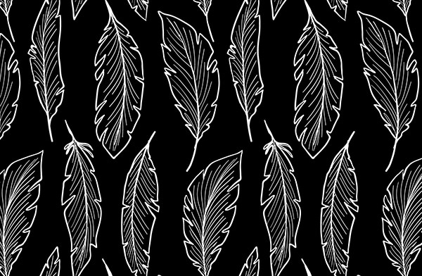 Hand-drawn-feathers-pattern