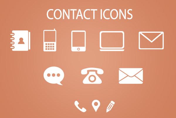 minimal contact icons psd