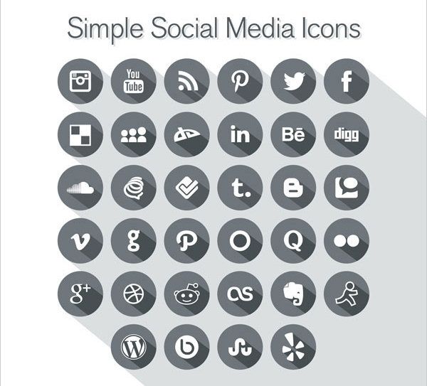 New-Long-Shadow-Simple-Social-Media-Icons