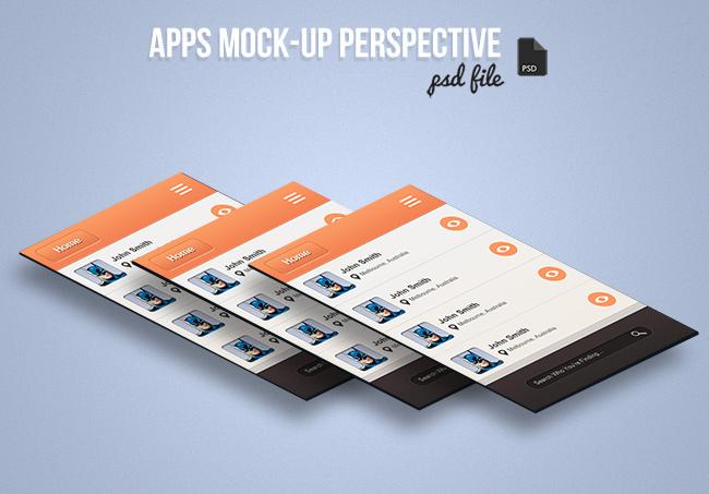 perspective app screens mock up