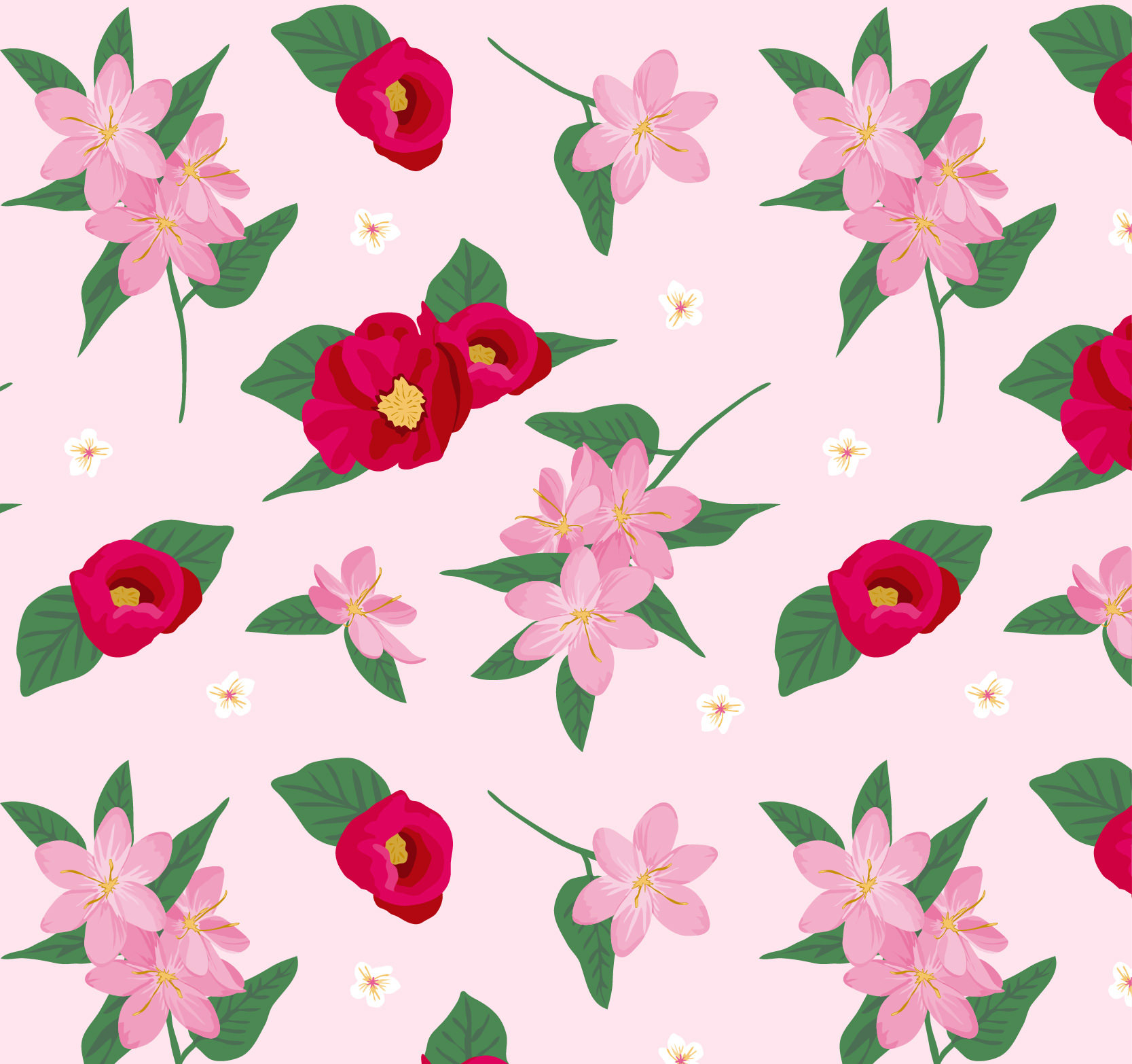 Pink and Red Free Vector Floral Pattern