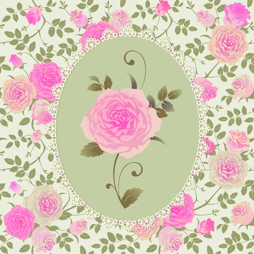 Pink-rose-pattern-background-vector-