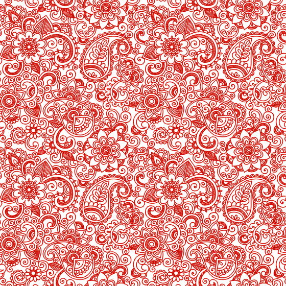 Red Ornament Free Seamless Floral Pattern