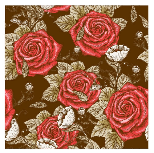 Retro-styles-roses-seamless-pattern-vector