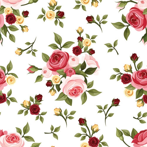 Vintage Floral Pattern With Red Roses. Stock Vector ... |Vintage Floral Rose Pattern
