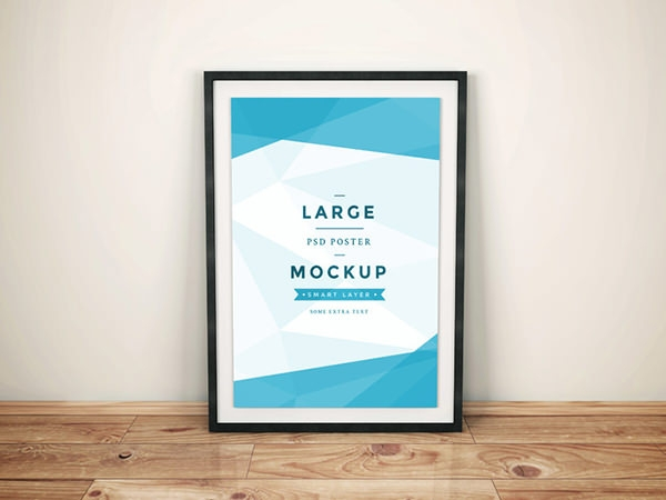 artwork poster on frame mockup psd