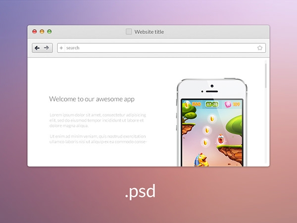browser mockup psd with iphone