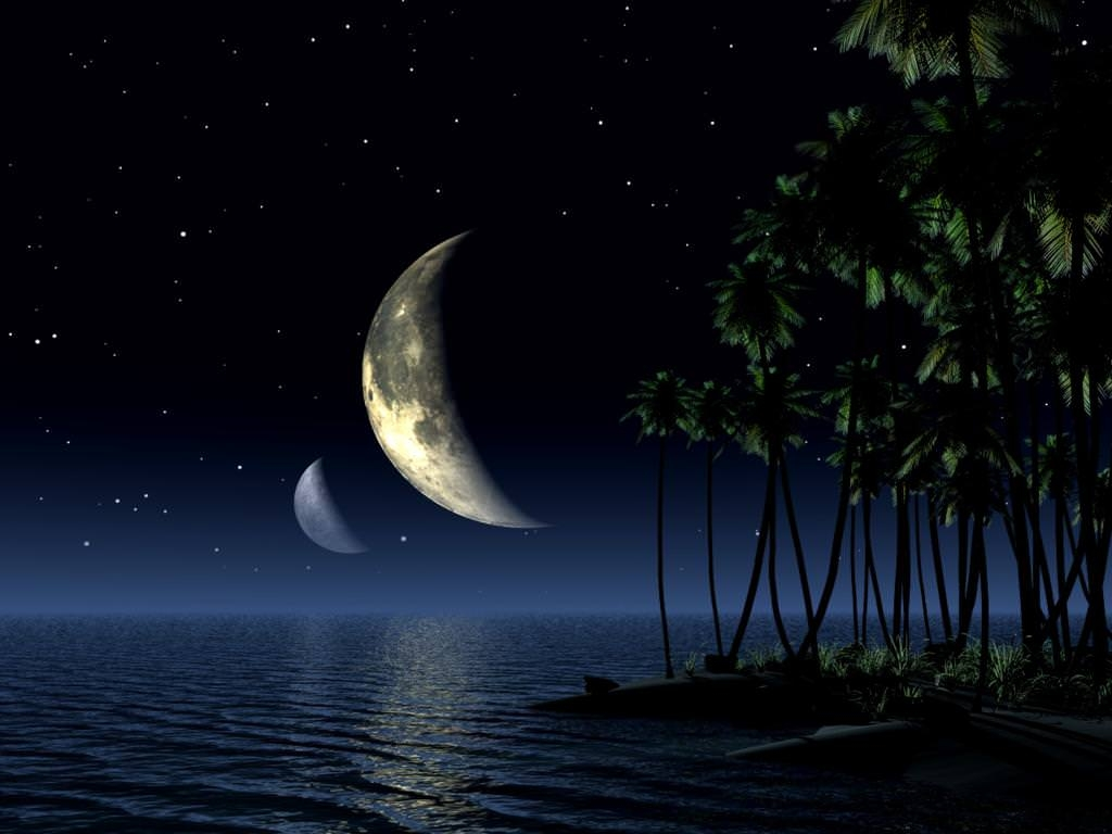 crescent night sky moon wallpaper