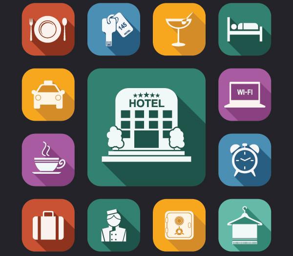 free flat hotel icons set