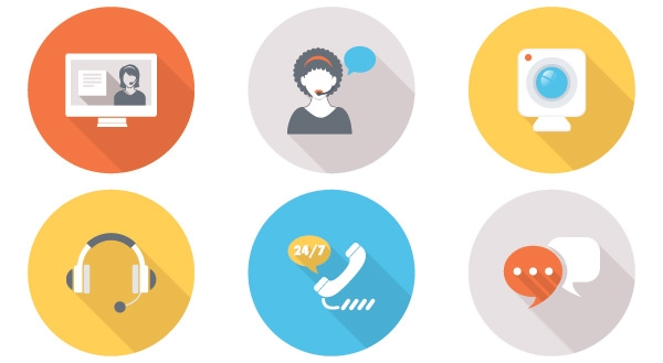 free flat live contact vector icons