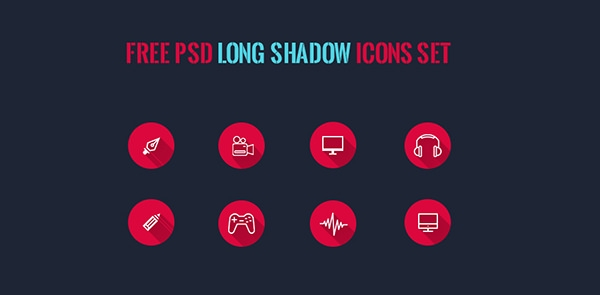 free psd long shadow icons