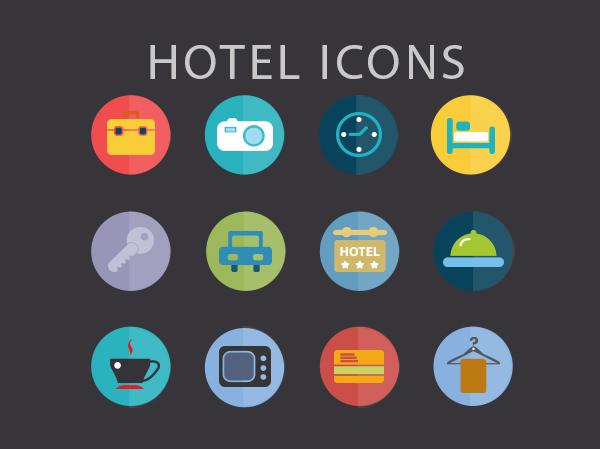12 Free PSD Flat Hotel Icons