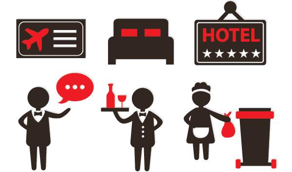 hotel service icons set