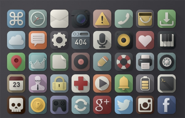 long shadow psd icons