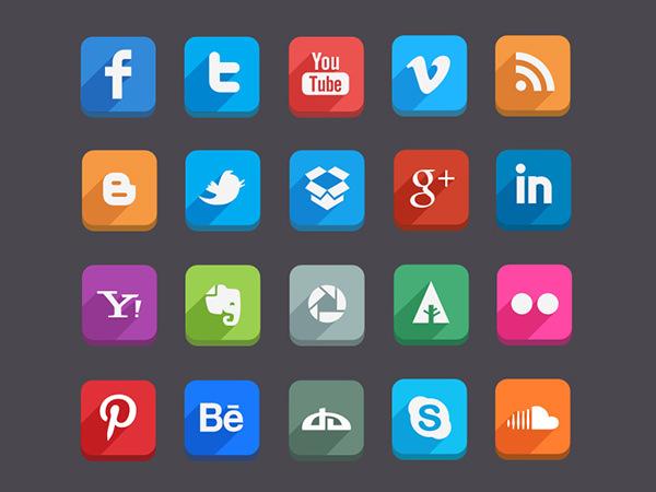 long shadow social medai icons