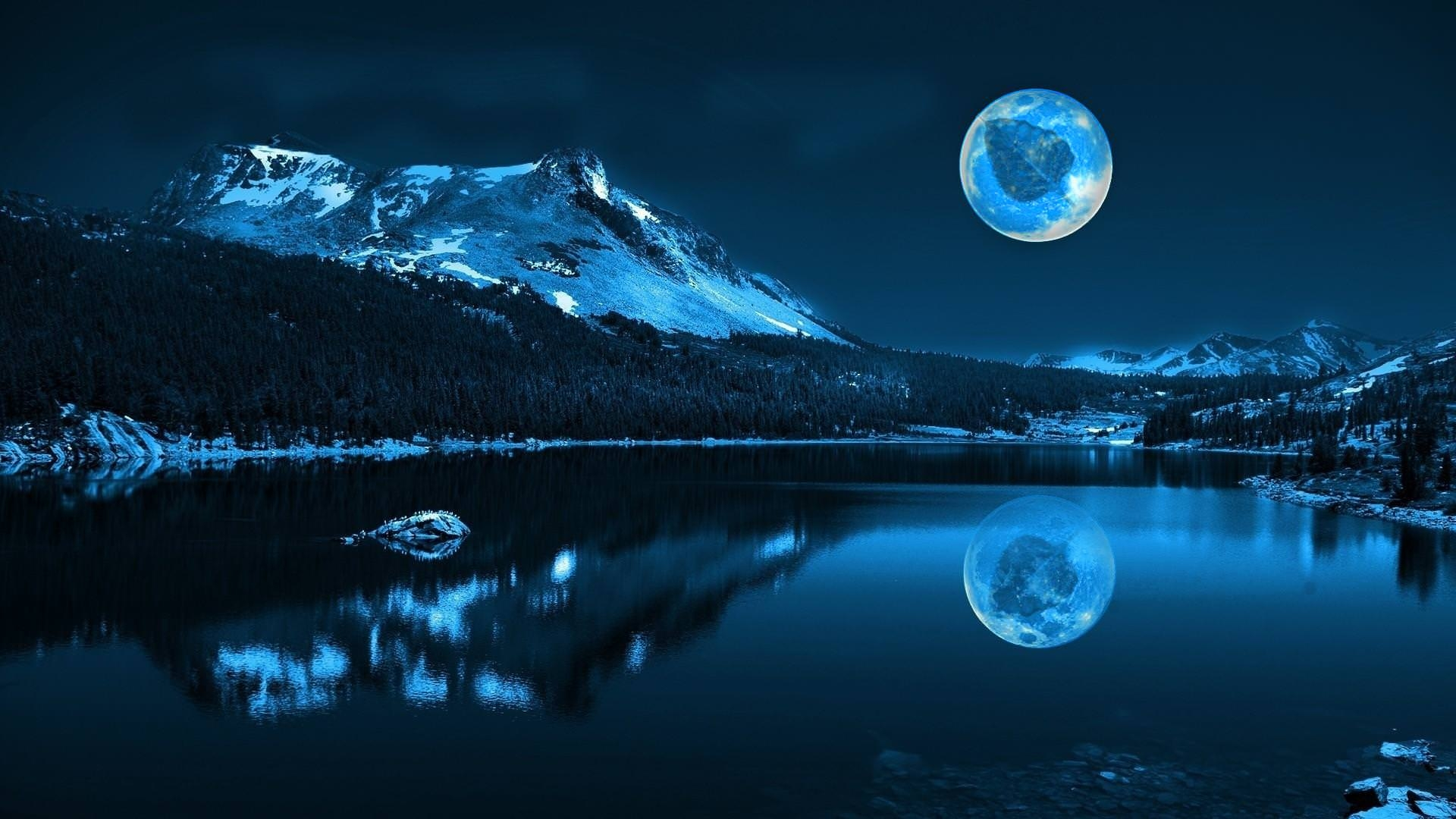moon-background_ with its reflection