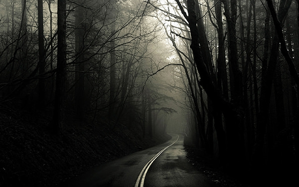 narrow road dark background wallpaper