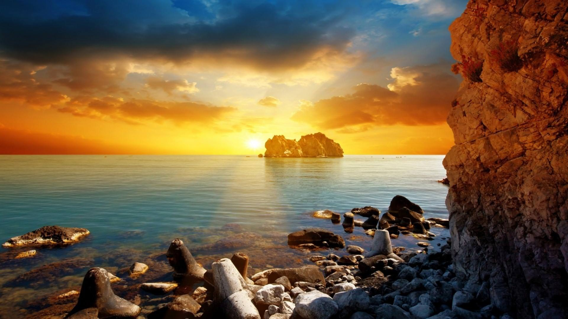 ocean sunset cool wide high definition wallpaper