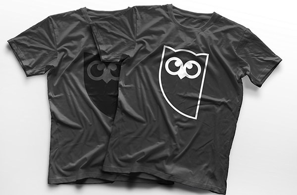 owl log design on branded t-shirt