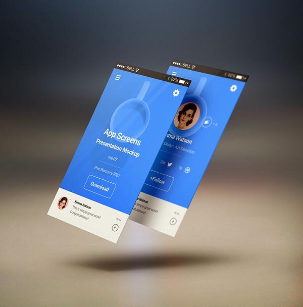 perspective app screens mock free psd