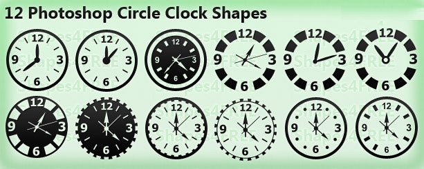 photoshop circle clock shapes