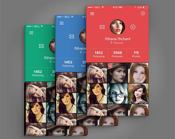 profile screen mockups