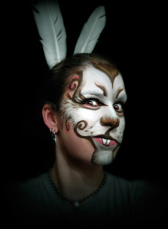 rabbit painitng art on face