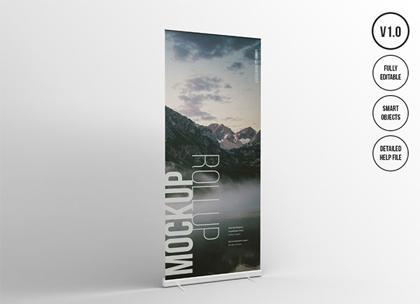 roll up presentation mockup template psd