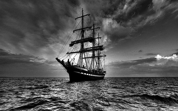 sailing ship in dark hd wallpaper