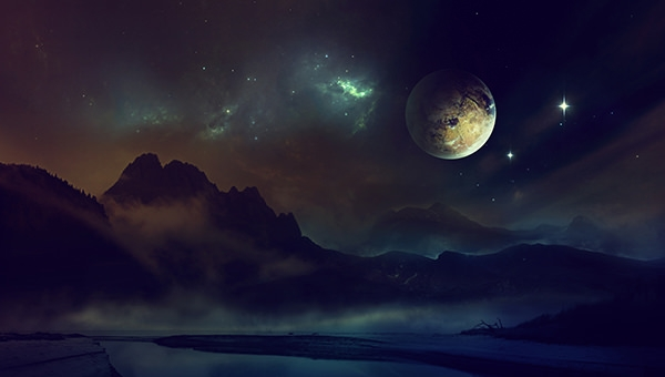 space_planet_light_night_sky