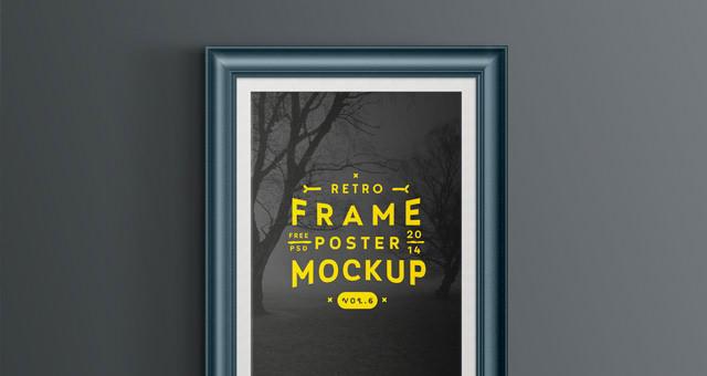 vintage-old-retro-frame-picture-poster-presentation-mockup