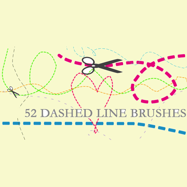 52 Free Photoshop Dashed Line Brushes Set