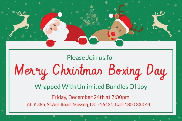 Christmas Boxing Day Invitation Card