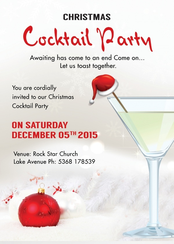 Christmas Cocktail Party Invitation Card