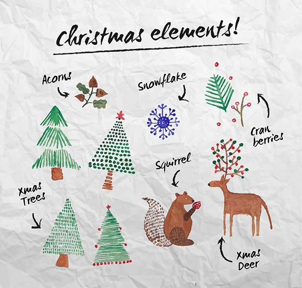 Christmas Elements in Water Color Style