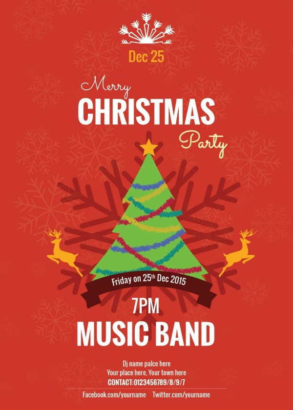 Christmas Music band Invitation Card