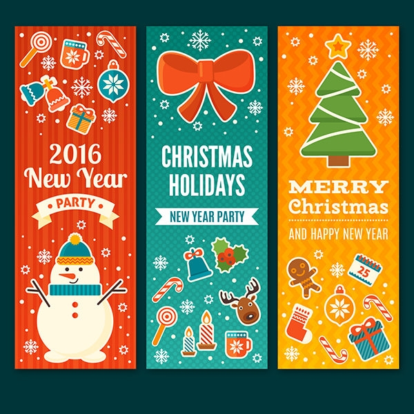 Colored new and christmas eve vectro banners