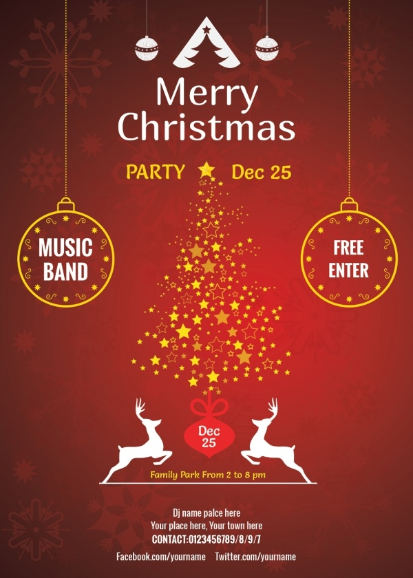 Free PSD Christmas Invitation Card Designs – Free Christmas Party Templates Invitations
