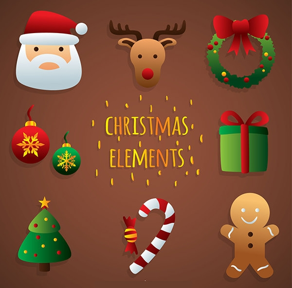 Cute Christmas Elements Free Vector