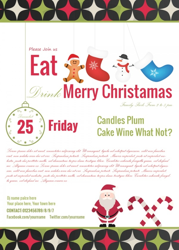 Eat and Drink Christmas Invitation Card