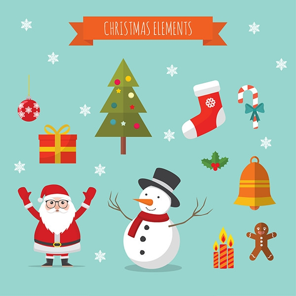 free vector christmas cartoon decoration elements