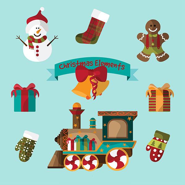 free vector christmas elements illustration