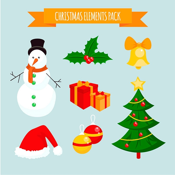 free vector christmas elements pack
