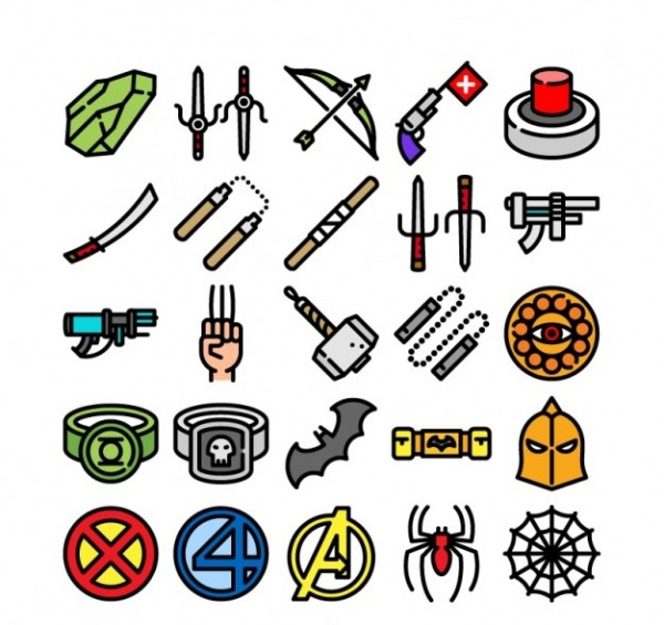 Free Vector Collection of Super Hero Icons