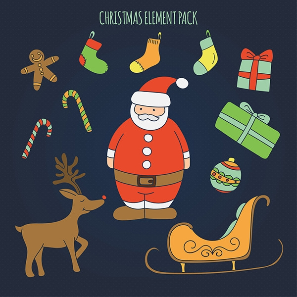 free vector illustrated christmas elements