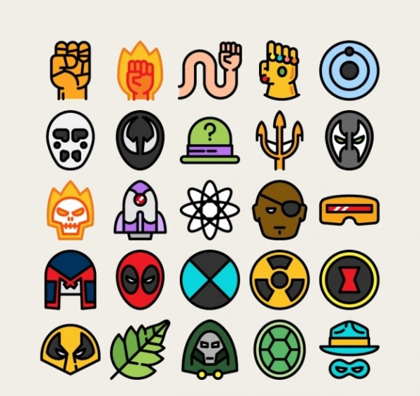 Free Vector Variety of Colored Comic Super Hero Icons