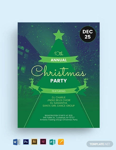 green christmas party flyer template