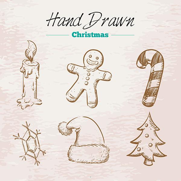 hand drawn retro christmas elements